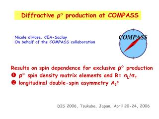 Diffractive  ? � production at COMPASS