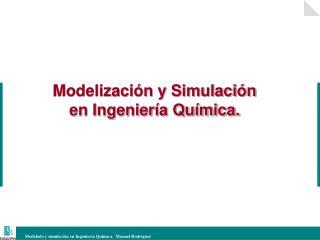 Modelizaci�n y Simulaci�n en Ingenier�a Qu�mica.