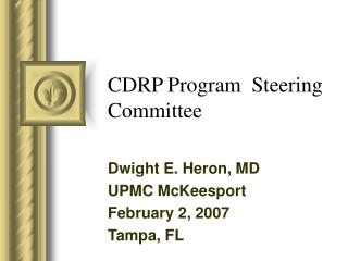 CDRP Program  Steering Committee