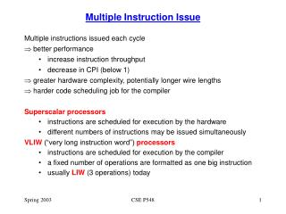 Multiple Instruction Issue