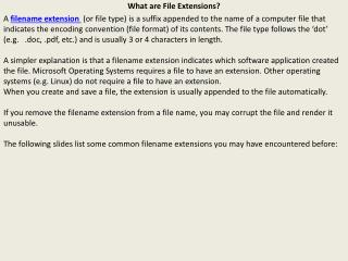 What are File Extensions?