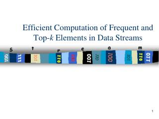 Efficient Computation of Frequent and Top- k  Elements in Data Streams