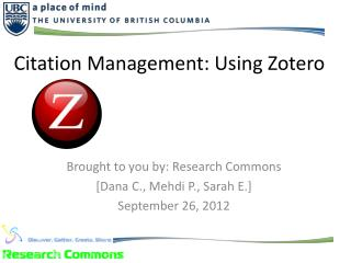 Citation Management: Using Zotero