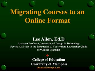Migrating Courses to an Online Format