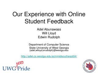 Our Experience with Online Student Feedback
