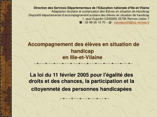 Accompagnement des élèves en situation de handicap en Ille-et-Vilaine