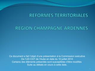 Ce document a fait l'objet d'une présentation à la Commission exécutive