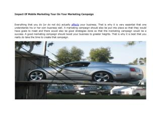 Impact Of Mobile Marketing Tour On Your Marketing Campaign