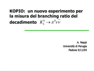 KOPIO:  un nuovo esperimento per la misura del branching ratio del decadimento