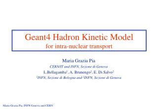 Geant4 Hadron Kinetic Model for intra-nuclear transport