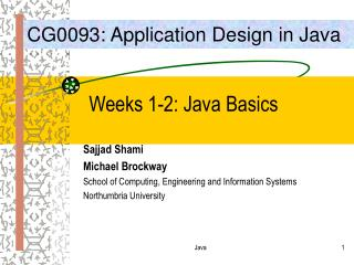 Weeks 1-2: Java Basics