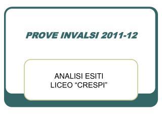 PROVE INVALSI 2011-12