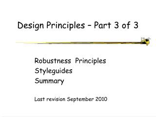 Design Principles � Part 3 of 3