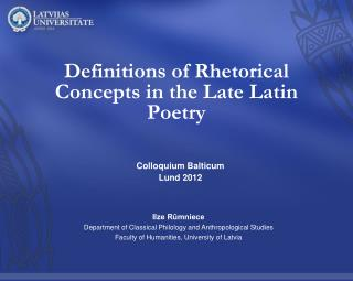 Definitions of Rhetorical Concepts in the Late Latin Poetry