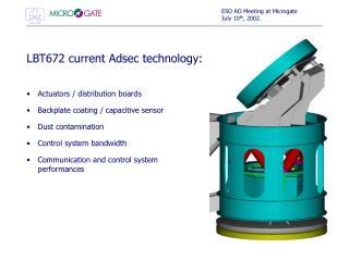 LBT672 current Adsec technology: Actuators / distribution boards