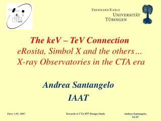 The keV – TeV Connection eRosita, Simbol X and the others…  X-ray Observatories in the CTA era