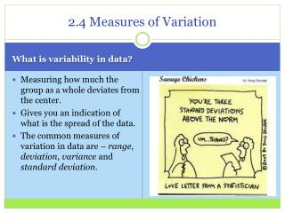 2.4 Measures of Variation