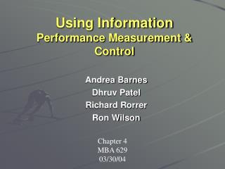 Using Information  Performance Measurement & Control