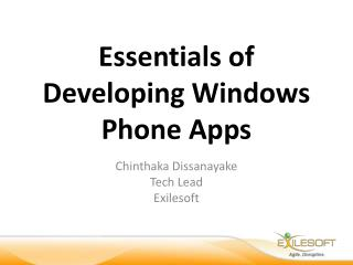 Essentials of Developing Windows Phone Apps