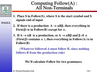 Computing Follow(A) :  All Non-Terminals
