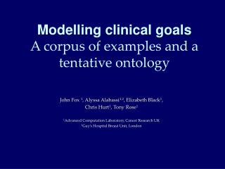 Modelling clinical goals A corpus of examples and a tentative ontology
