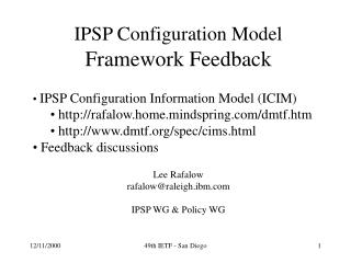 IPSP Configuration Model Framework Feedback