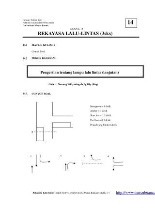 Jurusan Teknik Sipil Fakultas Teknik dan Perencanaan Universitas Mercu Buana. MODUL 14