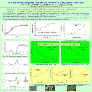 Yield Estimation and Quality Evaluation of Sweet Potato Using Spectral Reflectance