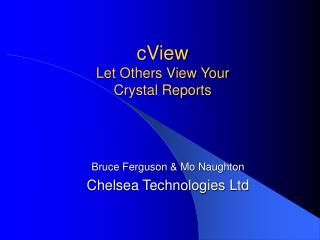 CView Let Others View Your  Crystal Reports