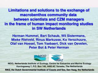 Limitations and solutions to the exchange of macrobenthos community data