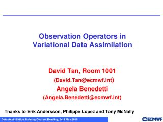 Observation  Operators in Variational Data Assimilation