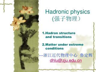 Hadronic physics ( 强子物理)
