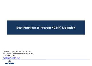 Best Practices to Prevent 401(k) Litigation