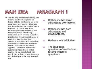 Main Idea      Paragraph 1