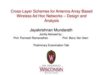 Cross-Layer Schemes for Antenna Array Based Wireless Ad Hoc Networks – Design and Analysis