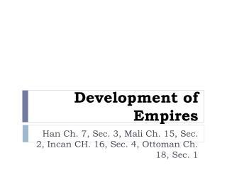 Development of Empires