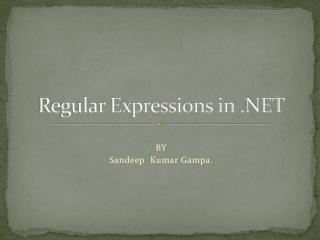 Regular Expressions in .NET