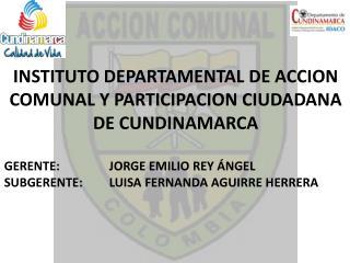 INSTITUTO DEPARTAMENTAL DE ACCION COMUNAL Y PARTICIPACION CIUDADANA DE CUNDINAMARCA  GERENTE:   JORGE EMILIO REY  NGEL S