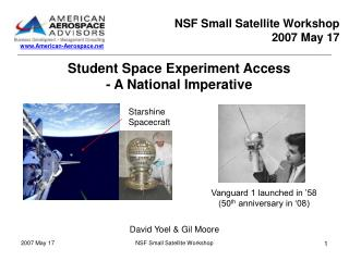 Student Space Experiment Access - A National Imperative