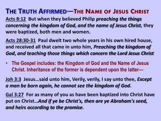 The Truth Affirmed — The Name of Jesus Christ