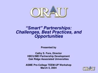 """Smart"" Partnerships: Challenges, Best Practices, and Opportunities"