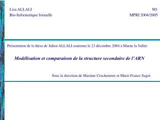 Présentation de la thèse de Julien ALLALI soutenue le 23 décembre 2004 à Marne la Vallée