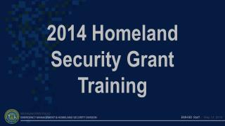 2014 Homeland Security Grant  Training
