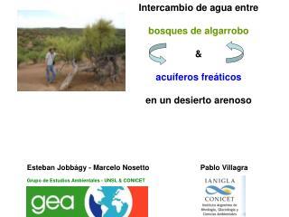 Intercambio de agua entre  bosques de algarrobo & acuíferos fre á tico s en un desierto arenoso
