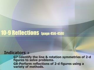 10-9 Reflections   (page 456-459)