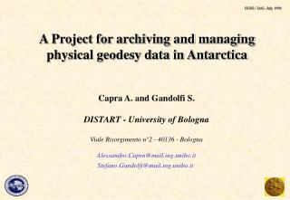 A Project for archiving and managing  physical geodesy data in Antarctica