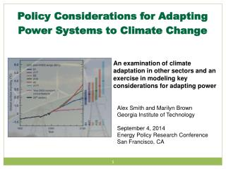 Policy Considerations for Adapting Power Systems to Climate Change