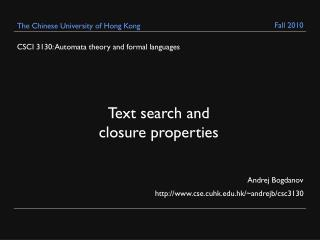 CSCI 3130: Automata theory and formal languages