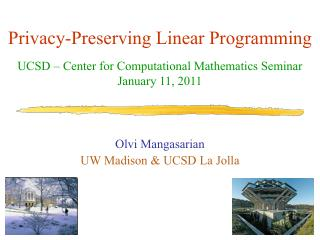 Privacy-Preserving Linear Programming