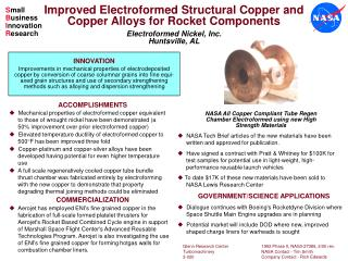 Improved Electroformed Structural Copper and Copper Alloys for Rocket Components